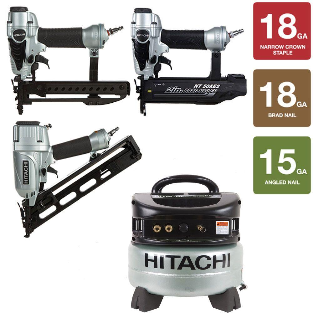 Hitachi 4-Piece Angled Finish Nailer, 2 in. Finish Nailer, 1/4 in. Crown Stapler and 6 gal. Compressor
