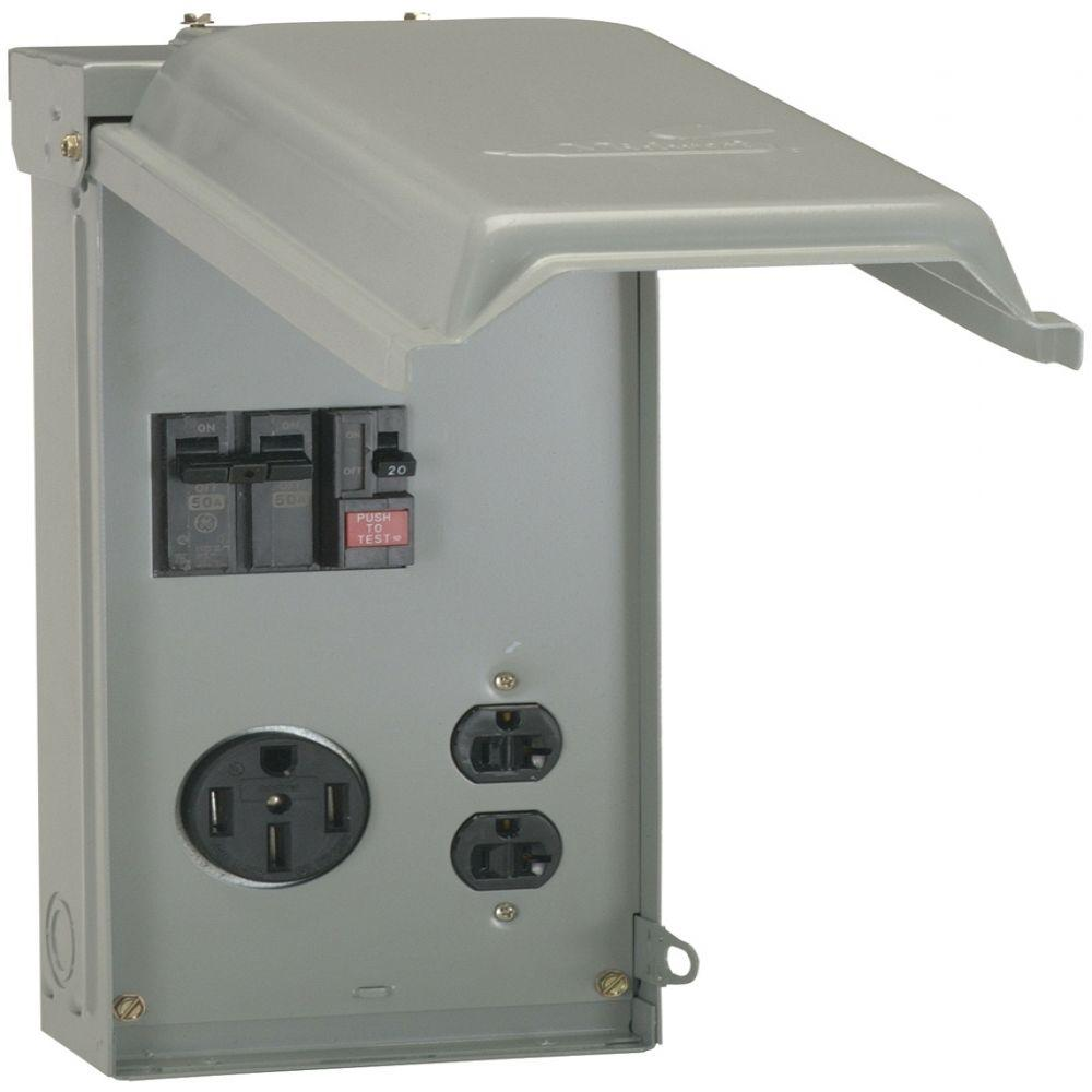 GE 70 Amp Temporary Power Box with GFCI and 50 Amp Outlet Top Feed