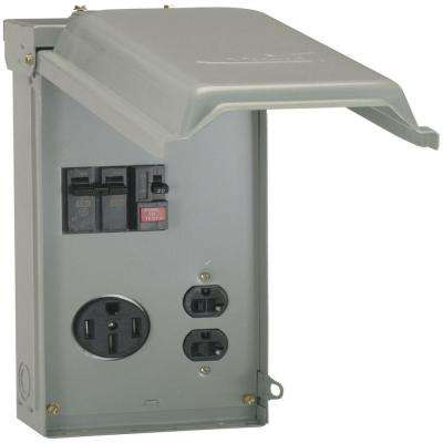 70 Amp Temporary Power Box with GFCI and 50 Amp Outlet Top Feed