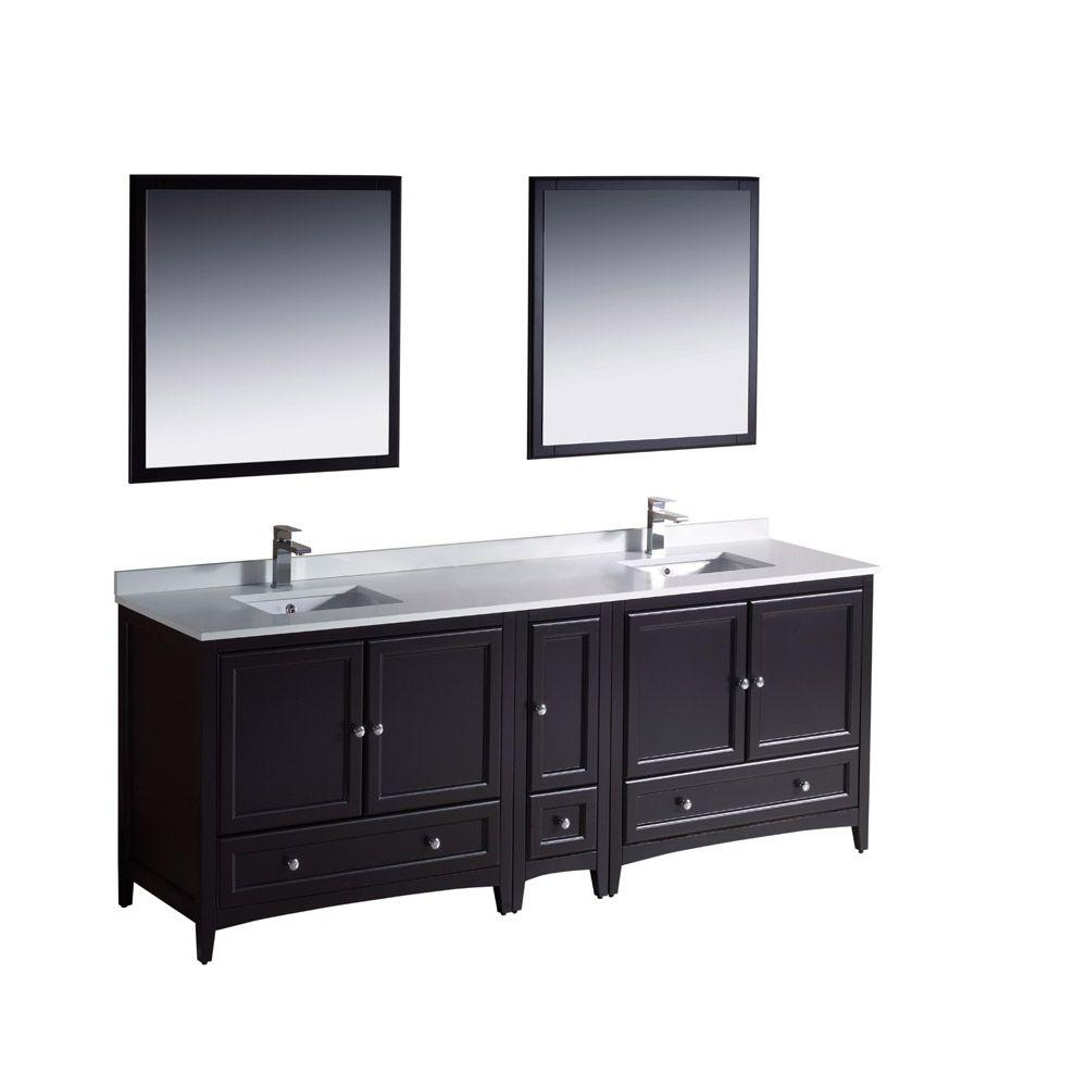 Fresca Oxford 84 in. Double Vanity in Espresso with Ceramic Vanity Top in White with White Basins and Mirror with Side Cabinet