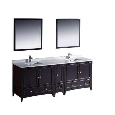 Oxford 84 in. Double Vanity in Espresso with Ceramic Vanity Top in White with White Basins and Mirror with Side Cabinet