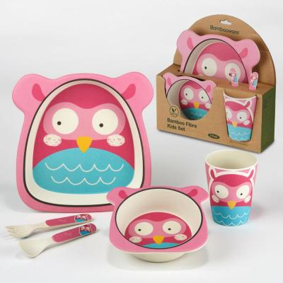 5-Piece Patterned Multi-Colored Bamboo Kids Dinnerware Set (Service for 1)