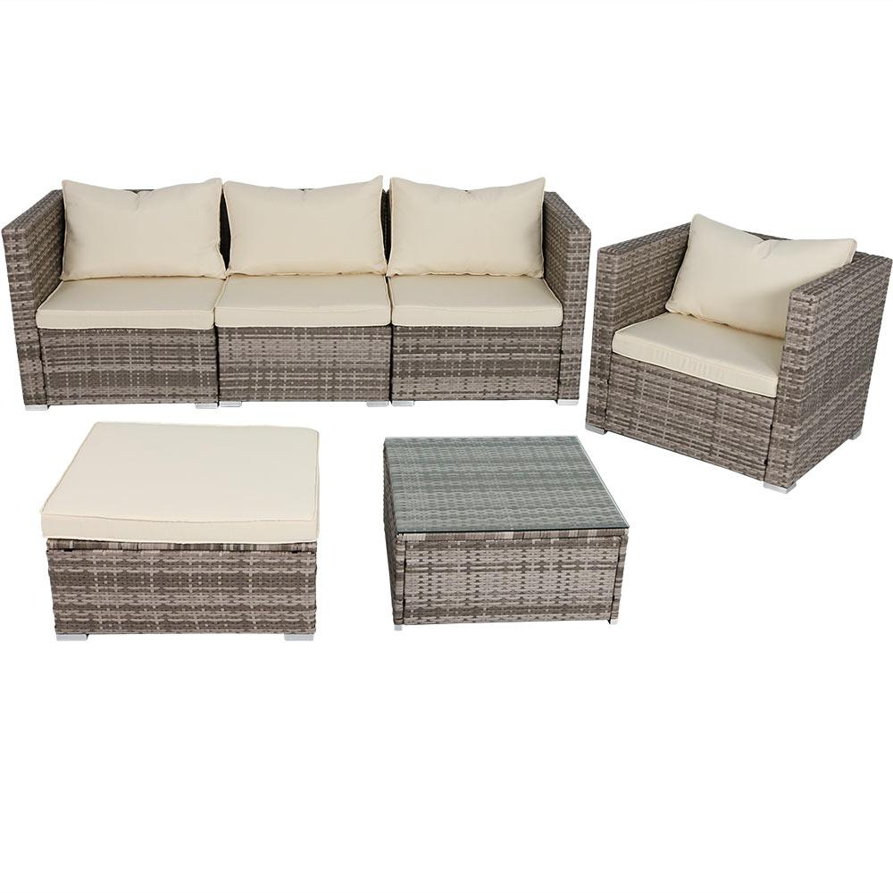 Boa Vista 6-Piece Wicker Rattan Outdoor Sofa Patio Furniture Set with Beige  Cushions - Sunnydaze Decor Boa Vista 6-Piece Wicker Rattan Outdoor Sofa Patio