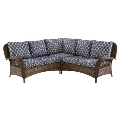 Beacon Park 3-Piece Brown Wicker Outdoor Patio Sectional Sofa with CushionGuard Midnight Trellis Navy Blue Cushions