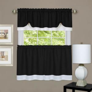 Achim Darcy Black/White Polyester Tier and Valance Curtain Set - 58 inch W x 24 inch L by Achim