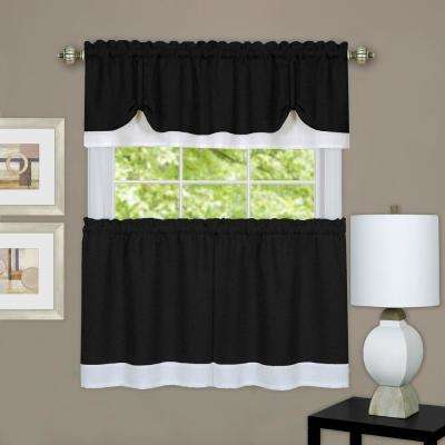 Darcy Black/White Polyester Tier and Valance Curtain Set - 58 in. W x 36 in. L