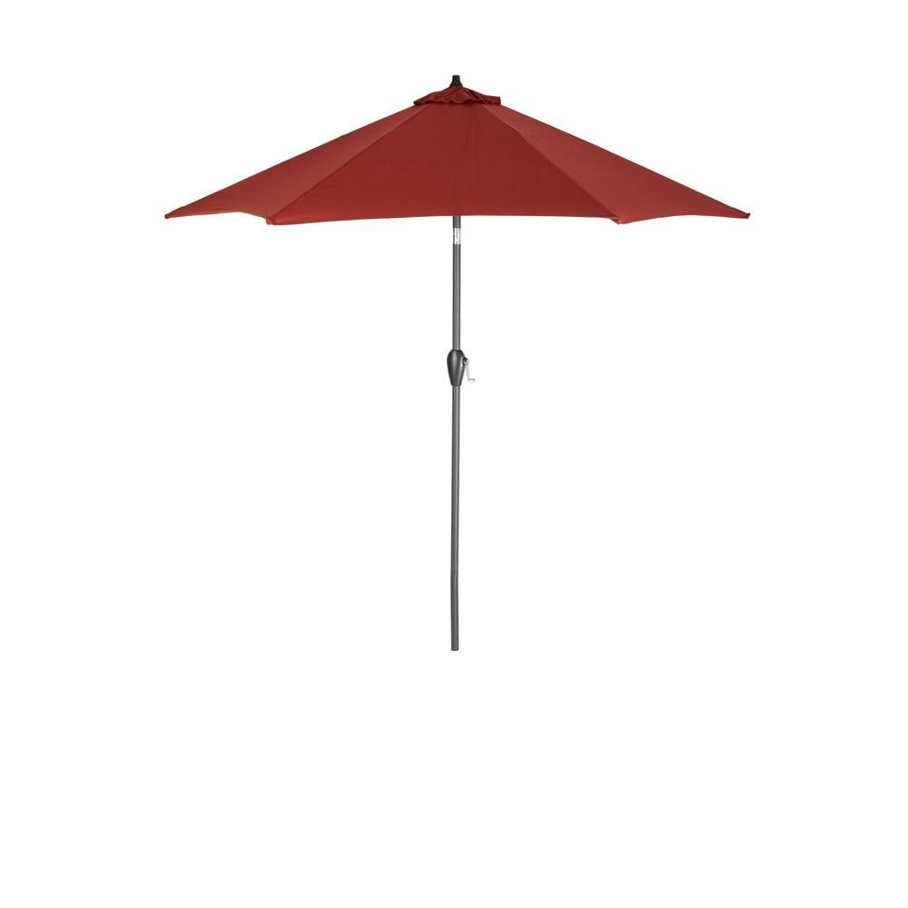 hampton bay 9 ft. aluminum patio umbrella in chili-9900-01004011 9 Foot Umbrella Base