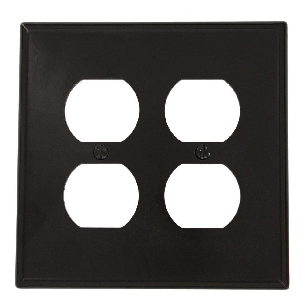 1-Gang Midway Size 2-Duplex Receptacles Plastic Wall Plate, Brown