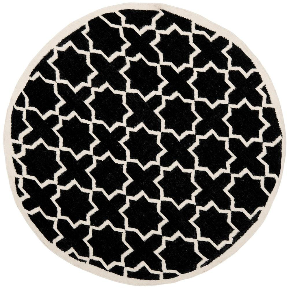 Dhurries Black/Ivory 8 ft. x 8 ft. Round Area Rug