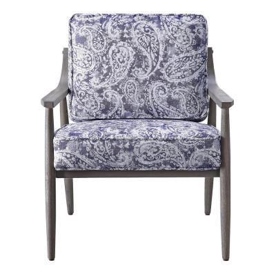 Samuel Arm Chair in Blue Paisley Fabric with Grey Brushed Wood Frame K/D