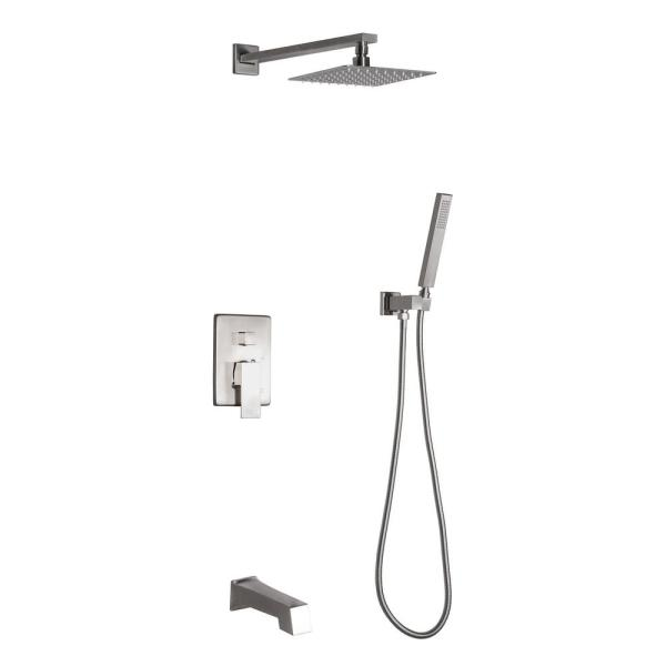Talise 2-Handle 1-Spray Tub and Shower Faucet with 3-Setting with 304T Stainless Steel in Nickel (Valve Included)