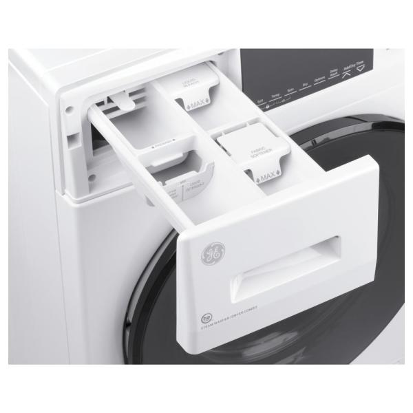 in White ft GE GFQ14ESSNWW 24 Electric Front Load Washer Dryer Combo with 2.4 cu Electronic Touch 14 Cycles Capacity