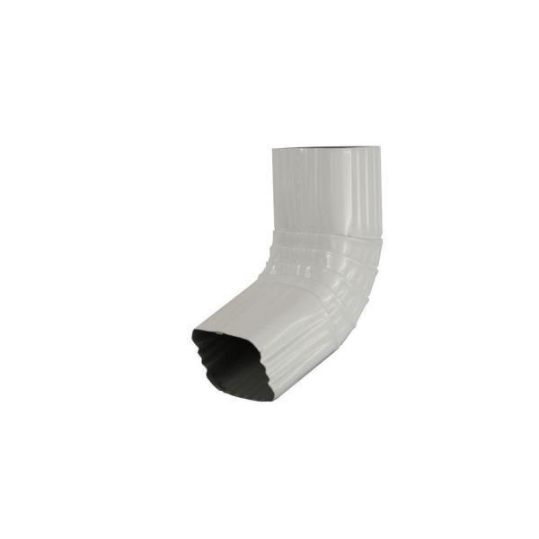 3 in. x 4 in. White Aluminum Downspout 80 Degree A Elbow
