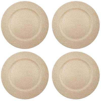 Home Essentials & Beyond 13 in. 4-Piece Twinkle Champagne Plate Charger Set