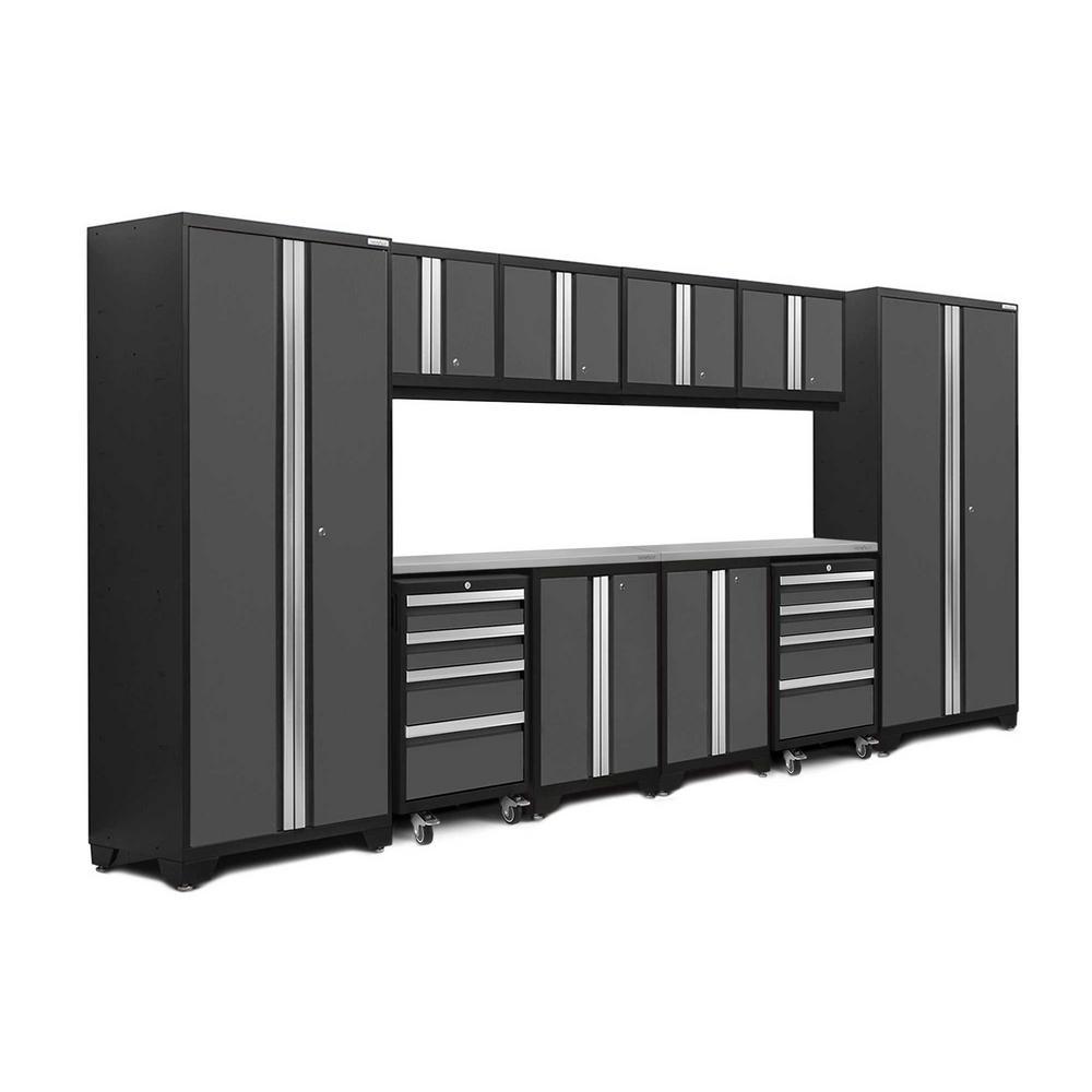 Bold 3.0 77.25 in. H x 156 in. W x 18 in. D 24-Gauge Welded Steel Stainless Steel Worktop Cabinet Set in Gray (12-Piece)