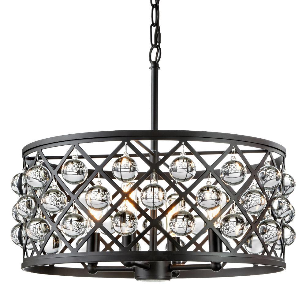 Home Decorators Collection Pennington Crest 4-Light Antique Bronze Pendant  with Solid Crystal Spheres