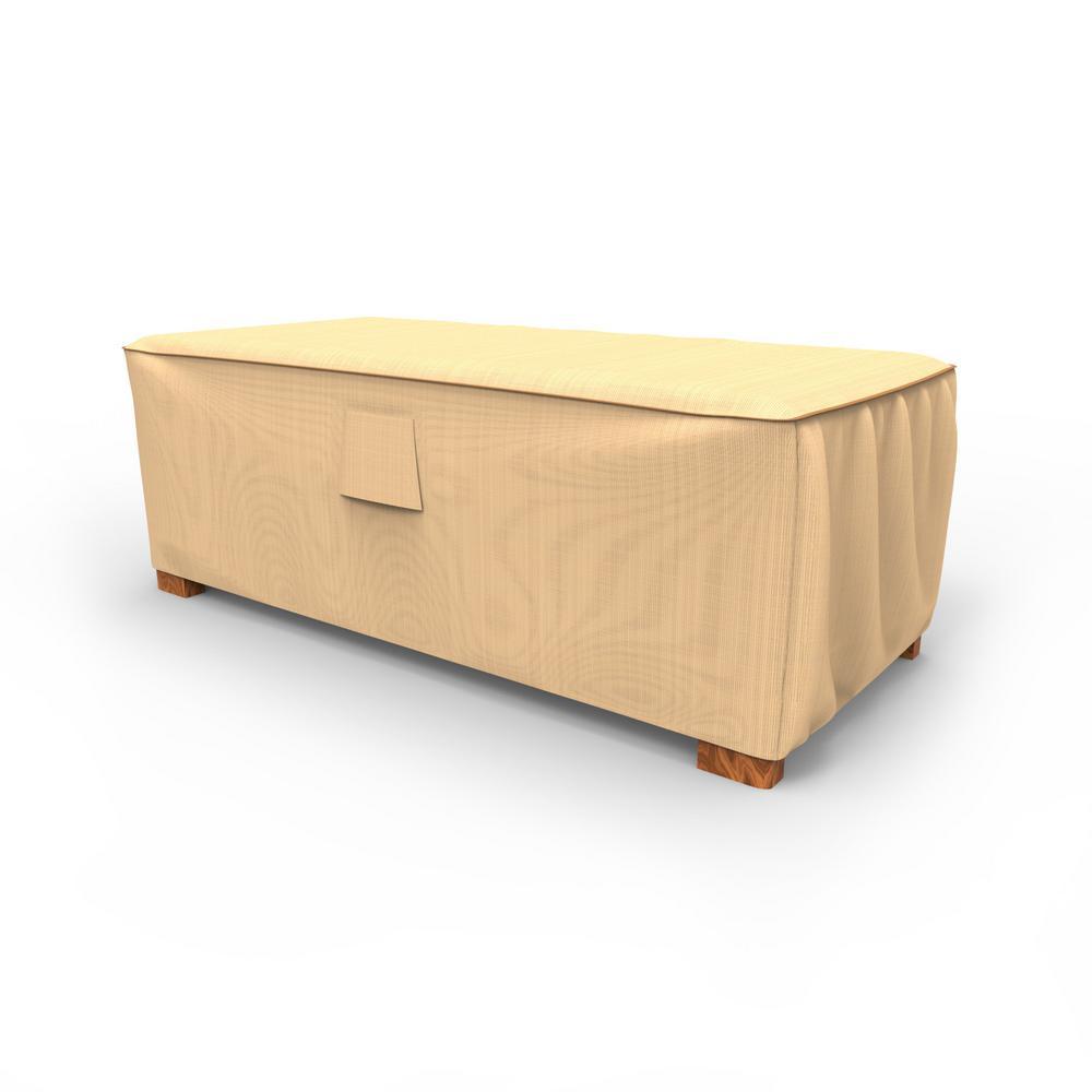 Budge Sedona Large Tan Outdoor Slim Patio Ottoman Cover/Coffee Table Cover