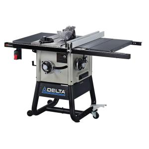 Delta 15 Amp 10 inch Left Tilt Contractor Saw with 30 inch Right Hand Rip, Steel Wings and Rolling Stand by Delta