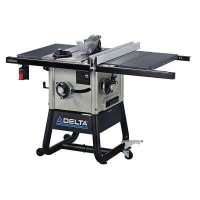 15 Amp 10 in. Left Tilt Contractor Saw with 30 in. Right Hand Rip, Steel Wings and Rolling Stand