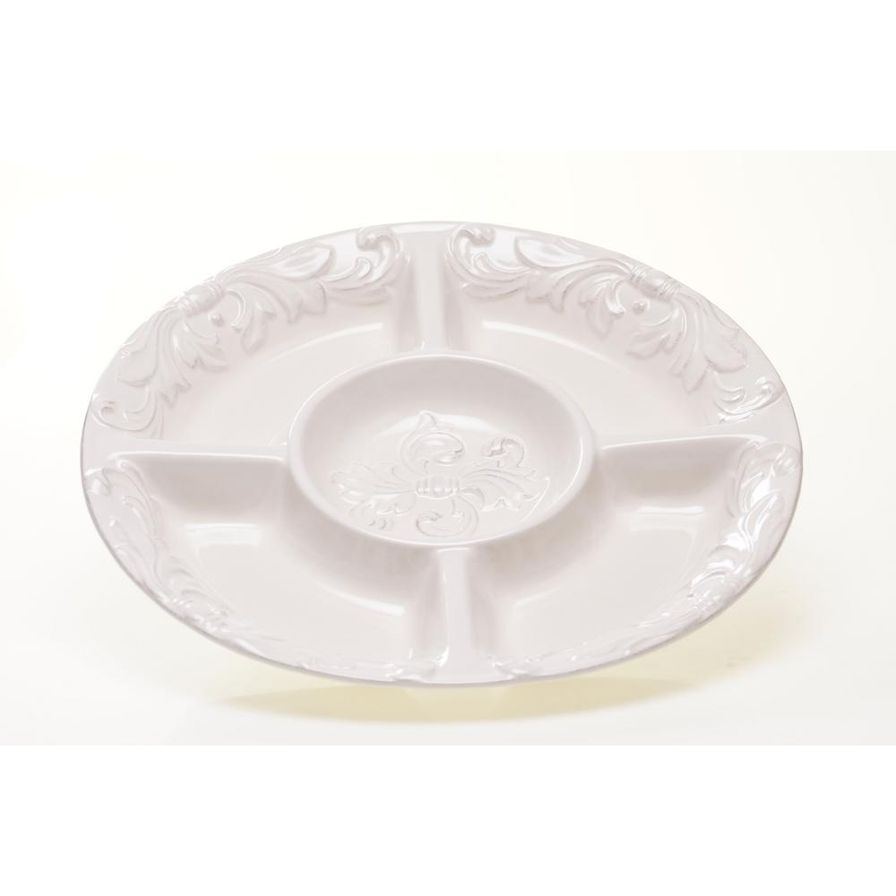 Firenze Ivory 5 section Chip and Dip Server