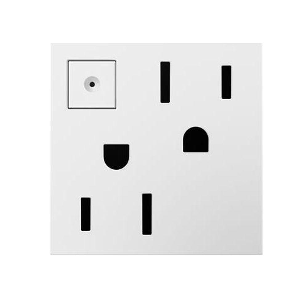 15 Amp Manual On-Off Duplex Outlet, White