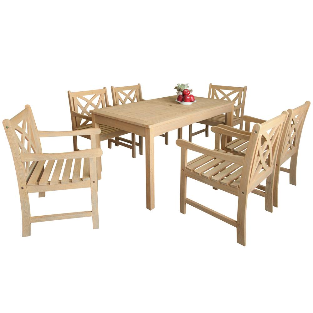 Beverly 7 Piece Sand Splashed Wood Outdoor Dining Set