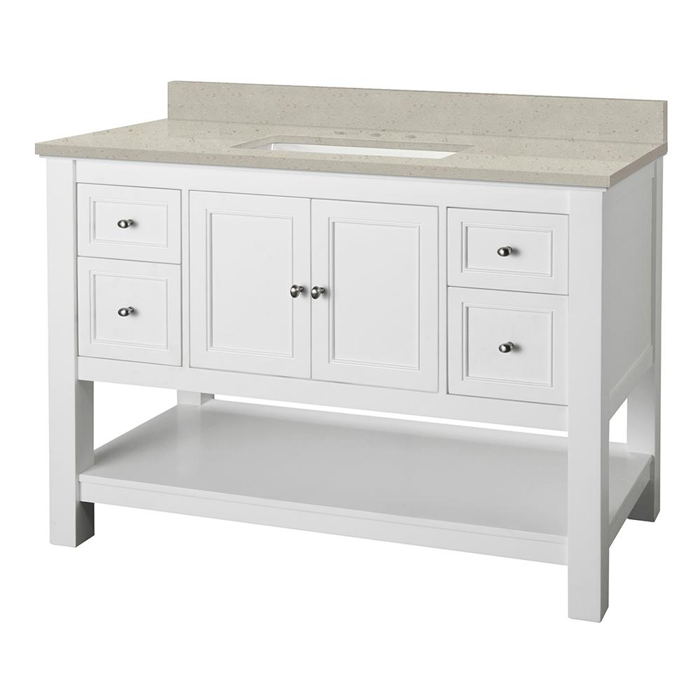 Home Decorators Collection Gazette 49 in. W x 22 in. D Vanity Cabinet in White with Engineered Quartz Vanity Top in Stoneybrook with White Sink