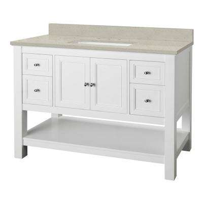 Gazette 49 in. W x 22 in. D Vanity Cabinet in White with Engineered Quartz Vanity Top in Stoneybrook with White Sink