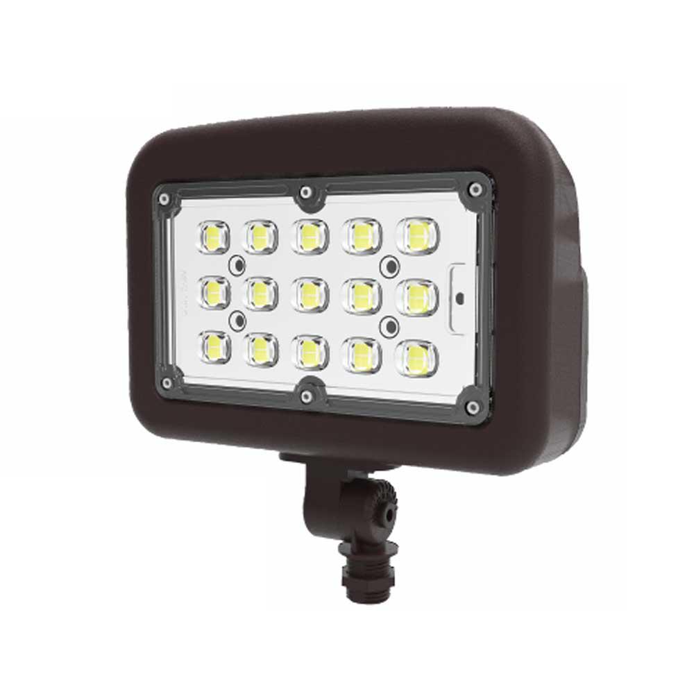 50-Watt 120-277-Volt Knuckle Line Voltage Bronze Outdoor Integrated LED Medium Landscape Flood Light, Selectable Color