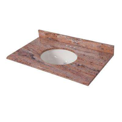 37 in. x 22 in. Stone Effects Vanity Top in Bordeaux with White Sink