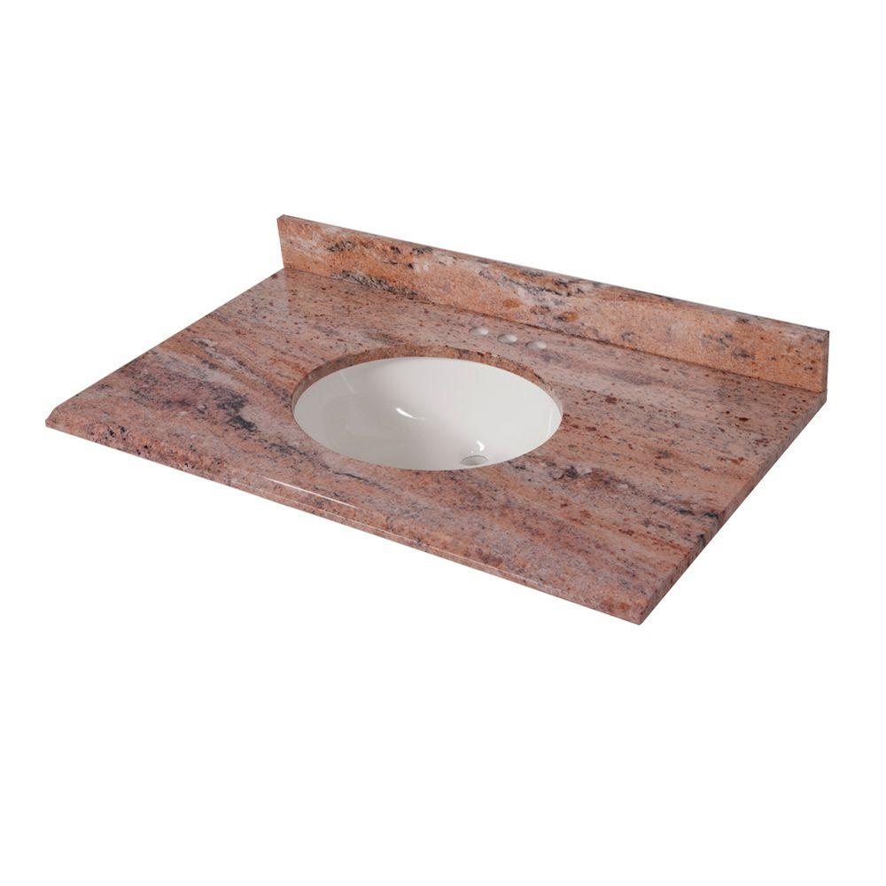 St. Paul 37 in. x 22 in. Stone Effects Vanity Top in Bordeaux with White Basin
