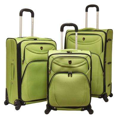 3-Piece EVA Expandable Vertical Luggage Set, Green