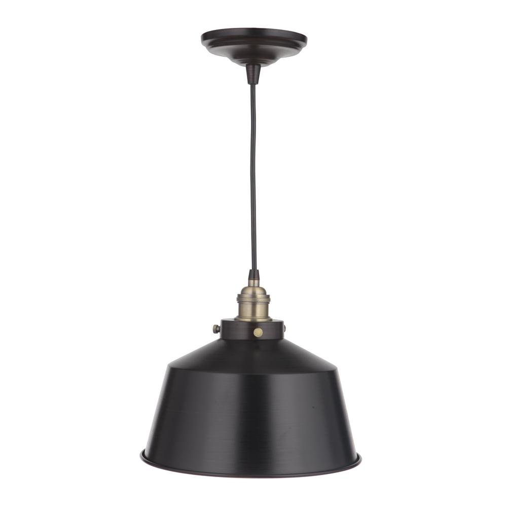 Home Decorators Collection Vintage Chic 1-Light Brushed Bronze Pendant with Brushed Brass Lamp Socket