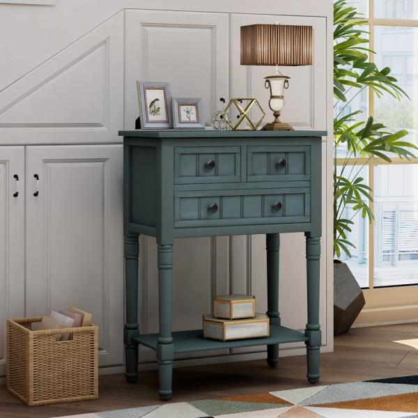 24 in. Blue Standard Rectangle Wood Console Table with 3-Drawers