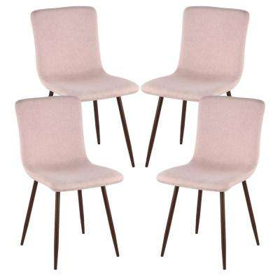 Wadsworth Dining Chair with Walnut Legs in Pink (Set of 4)