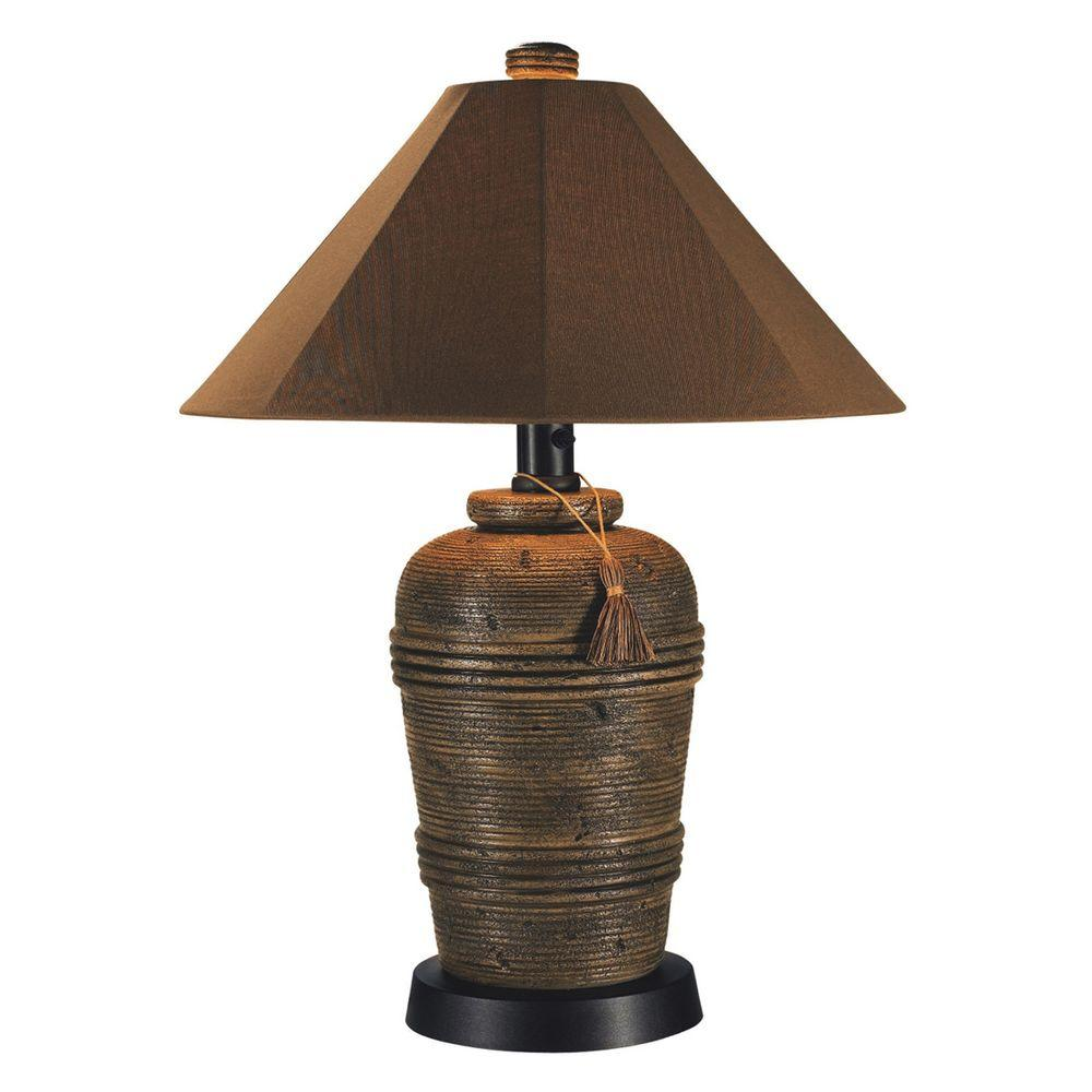 Patio Living Concepts Canyon 34 5 In Cocoa Outdoor Table Lamp With Sunbrella Shade