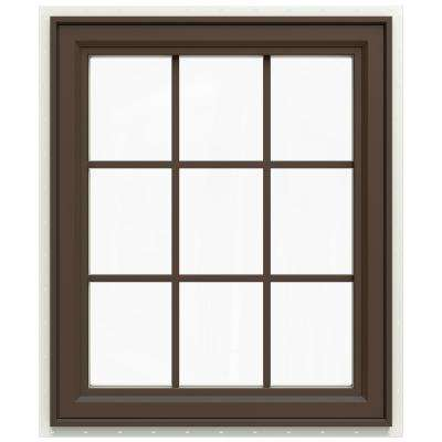 29.5 in. x 35.5 in. V-4500 Series Left-Hand Casement Vinyl Window with Grids - Brown