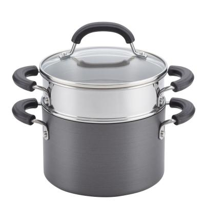 Hard-Anodized Nonstick 3 Qt. Covered Saucepot with Steamer Insert