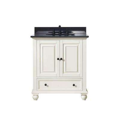 Thompson 31 in. W x 22 in. D x 35 in. H Vanity in French White with Granite Vanity Top in Black with White Basin