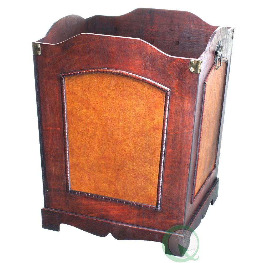 11.5 in. x 11.5 in. x 15.5 in. Antique Wooden Waste Can -...