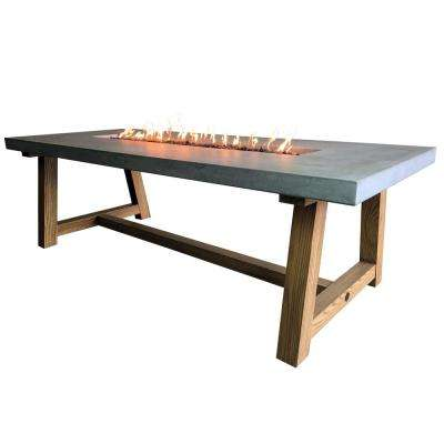 Workshop Dining 40 in. x 31 in. Rectangular Concrete Natural Gas Fire Pit Table with Burner and Lava Rock
