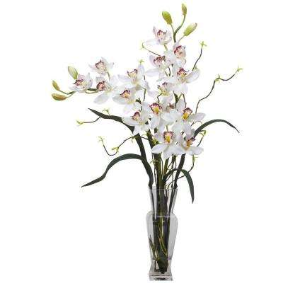 30 in. H White Cymbidium Silk Flower Arrangement