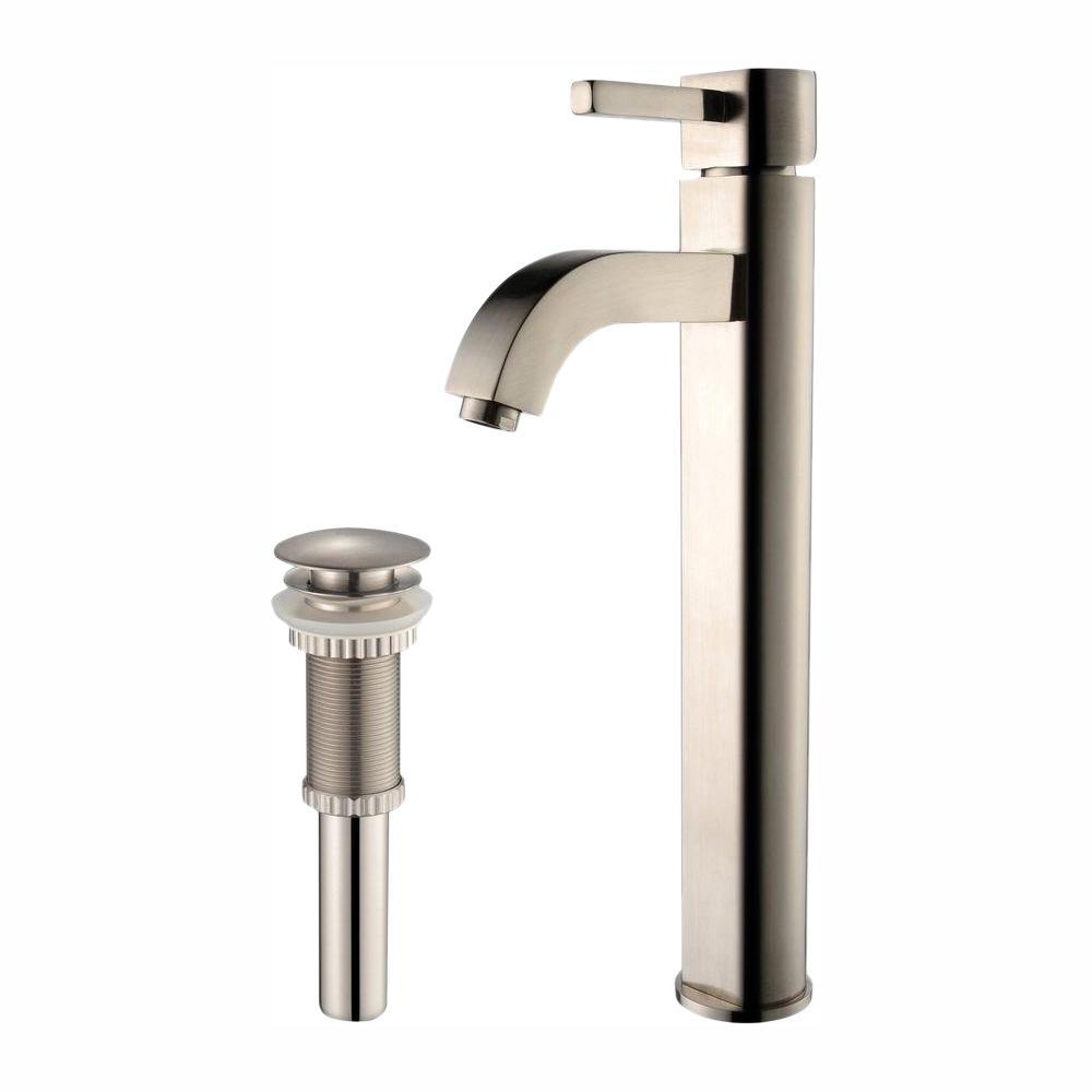 Ramus Single Hole Single-Handle Vessel Bathroom Faucet with Matching Pop Up Drain in Satin Nickel