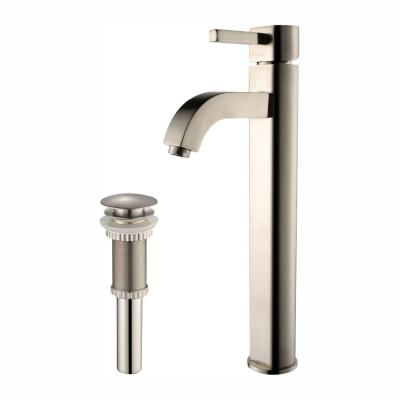 Ramus Single Hole Single-Handle Vessel Bathroom Faucet with Matching Pop Up Drain in Satin Nickel