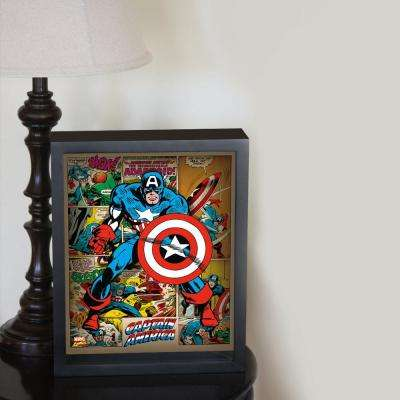 "9 in. x 11 in. ""Captain America - Panels Framed 3D Wall Art"