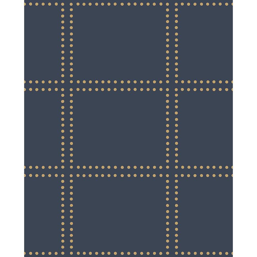 Gridlock Navy Geometric Wallpaper Sample