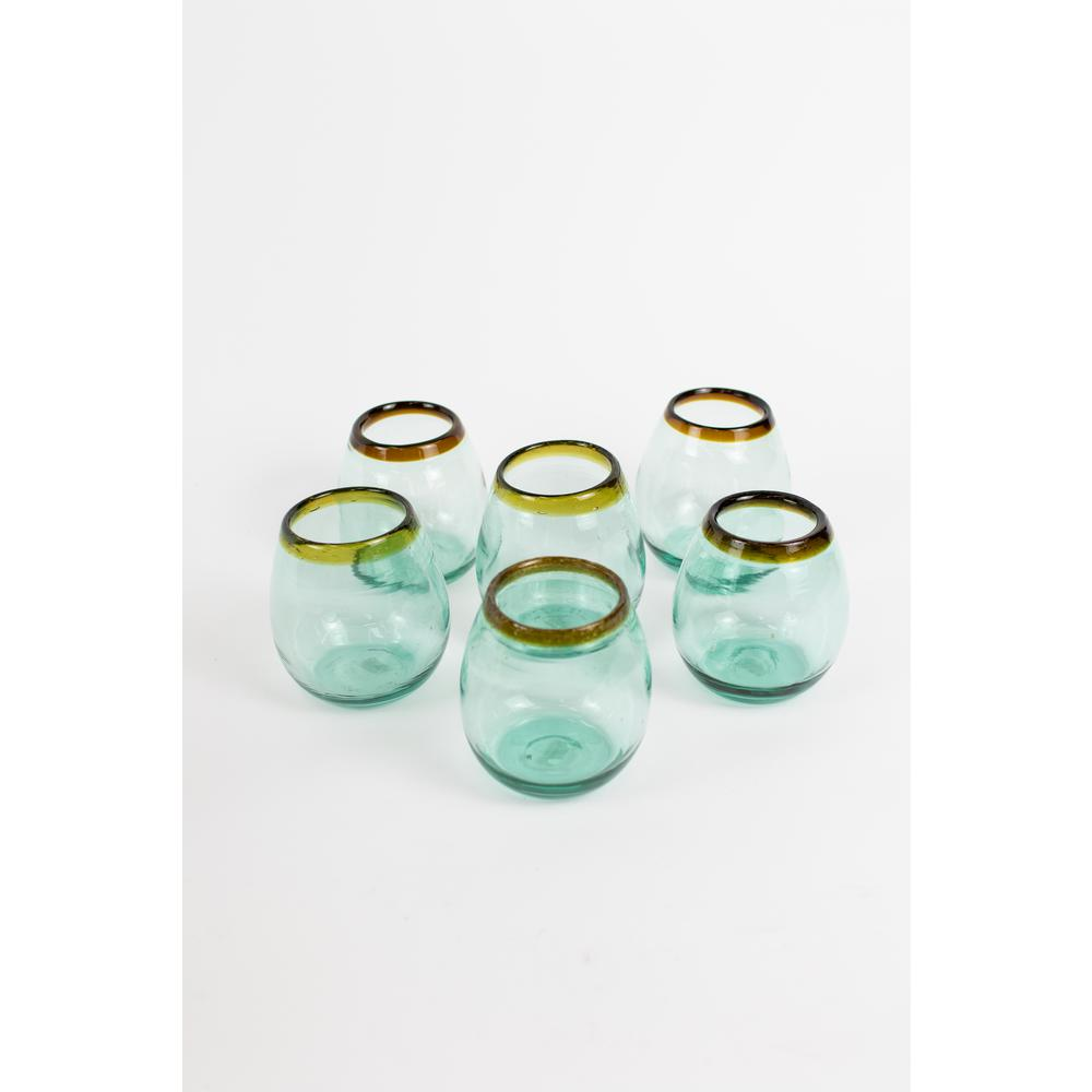 18 fl. oz. Clear Stemless Wine Glass with Amber Rim (Set of 6)