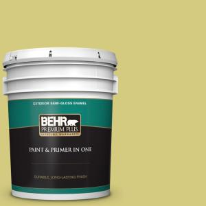 Behr Premium Plus 5 Gal P350 4 Spring Grass Semi Gloss Enamel Exterior Paint And Primer In One 540005 The Home Depot