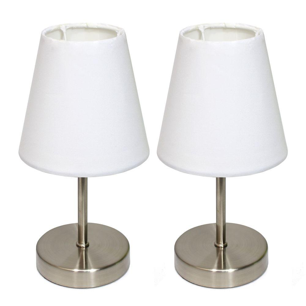 Pleasant Simple Designs Sand Nickel Mini Basic 10 5 In Table Lamp With Blue Fabric Shade 2 Pack Set Download Free Architecture Designs Ferenbritishbridgeorg
