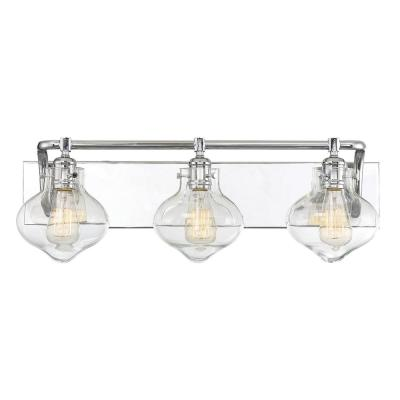 3-Light Polished Chrome Bath Light with Clear Glass